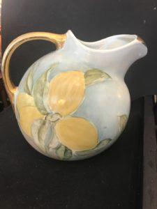 Gold handle & spout floral pitcher