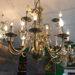 Glass and Brass 8 light chandelier