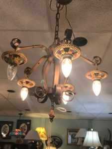 1930's Chandelier with Pollychrome paint