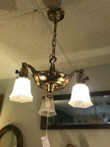 1930's 3 light Brass Light Fixture
