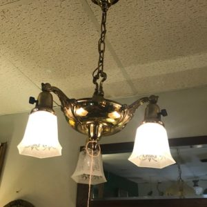 1930's 3 light Brass Light Fixture