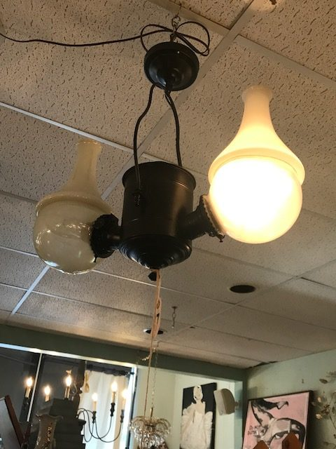 Oil Angle Lamp, electrified, Chandelier